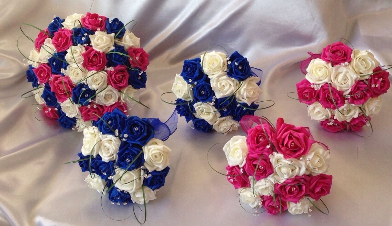 Wedding Flowers Artificial Ivory Hot Pink Royal Blue